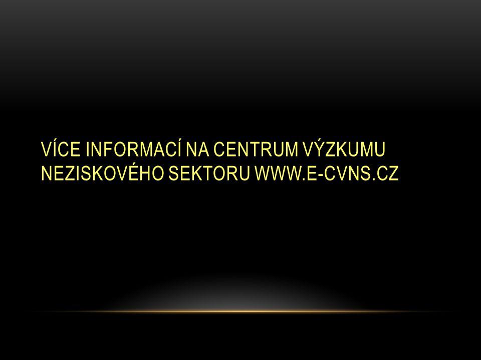 VÍCE INFORMACÍ NA CENTRUM VÝZKUMU NEZISKOVÉHO SEKTORU WWW.E-CVNS.CZ