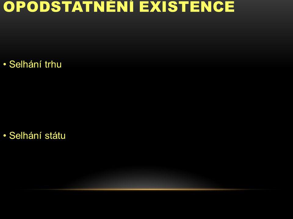 OPODSTATNĚNÍ EXISTENCE Selhání trhu Selhání státu