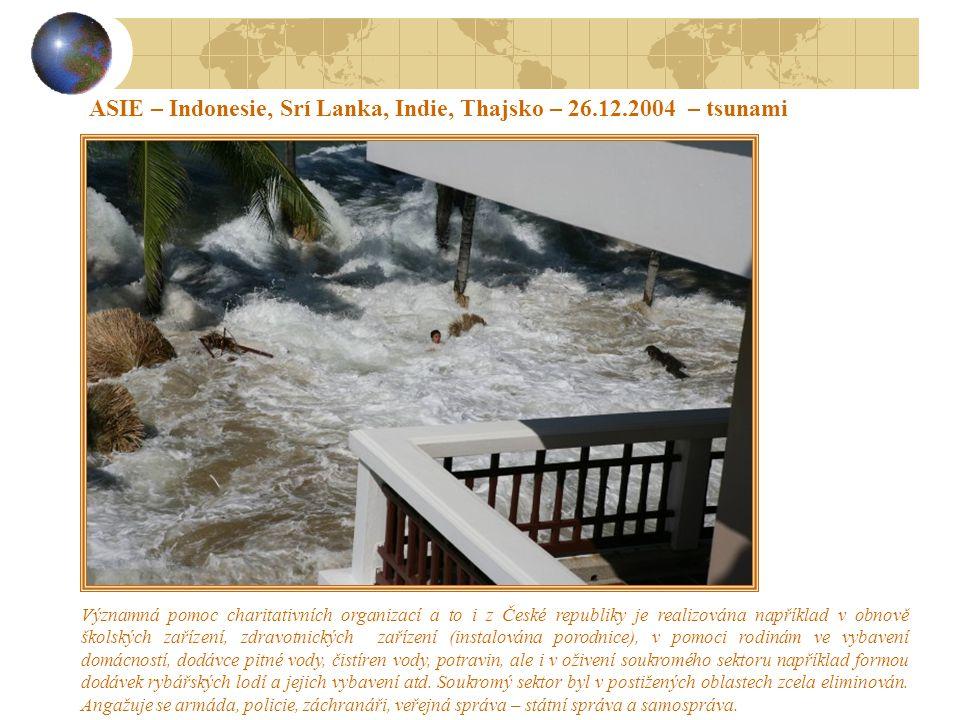 ASIE – Indonesie, Srí Lanka, Indie, Thajsko – 26.12.2004 – tsunami Kolem 230.000 obětí, především místních obyvatel, ale také zahraničních turistů.