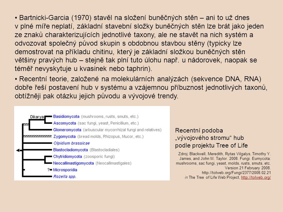 Bartnicki-Garcia (1970) stavěl na složení buněčných stěn – ani to už dnes v plné míře neplatí, základní stavební složky buněčných stěn lze brát jako jeden ze znaků charakterizujících jednotlivé taxony, ale ne stavět na nich systém a odvozovat společný původ skupin s obdobnou stavbou stěny (typicky lze demostrovat na příkladu chitinu, který je základní složkou buněčných stěn většiny pravých hub – stejně tak plní tuto úlohu např.
