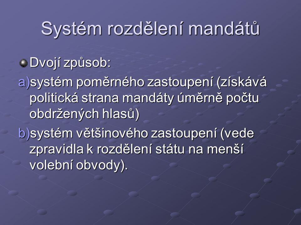 Systém rozdělení mandátů Dvojí způsob: a)systém poměrného zastoupení (získává politická strana mandáty úměrně počtu obdržených hlasů) b)systém většinového zastoupení (vede zpravidla k rozdělení státu na menší volební obvody).