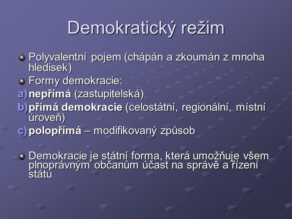 Demokratický režim Polyvalentní pojem (chápán a zkoumán z mnoha hledisek) Formy demokracie: a)nepřímá (zastupitelská) b)přímá demokracie (celostátní, regionální, místní úroveň) c)polopřímá – modifikovaný způsob Demokracie je státní forma, která umožňuje všem plnoprávným občanům účast na správě a řízení státu