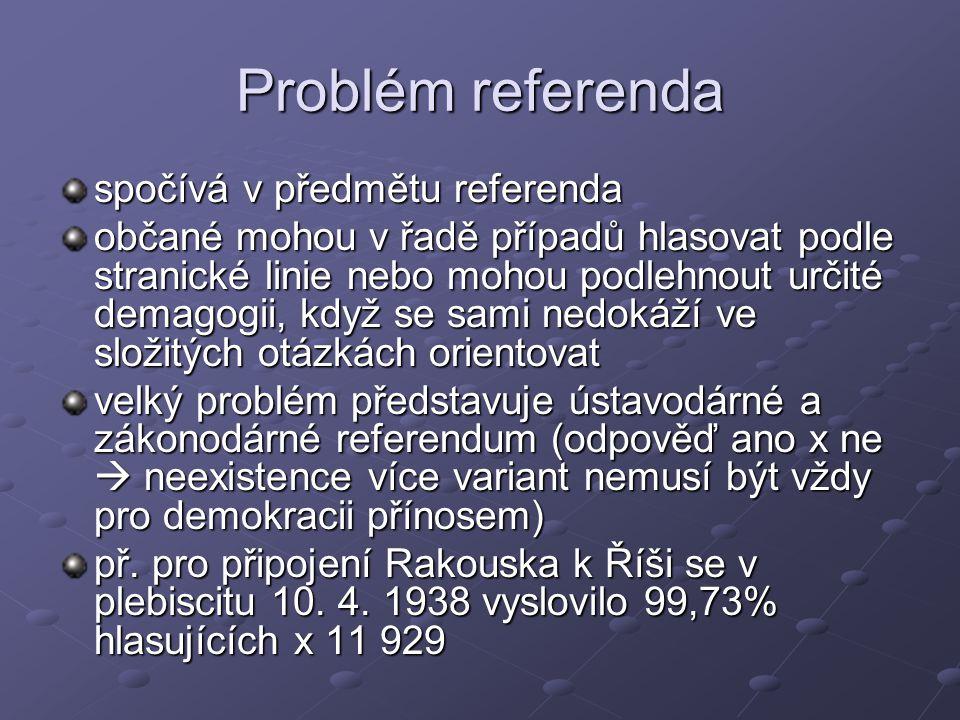 Problém referenda spočívá v předmětu referenda občané mohou v řadě případů hlasovat podle stranické linie nebo mohou podlehnout určité demagogii, když se sami nedokáží ve složitých otázkách orientovat velký problém představuje ústavodárné a zákonodárné referendum (odpověď ano x ne  neexistence více variant nemusí být vždy pro demokracii přínosem) př.