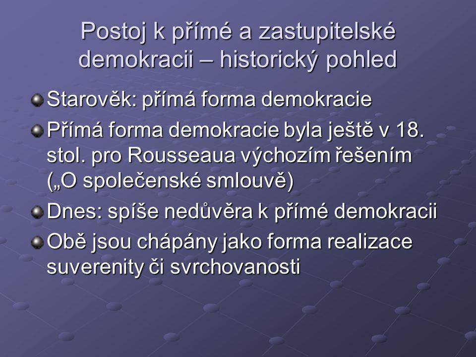 Postoj k přímé a zastupitelské demokracii – historický pohled Starověk: přímá forma demokracie Přímá forma demokracie byla ještě v 18.