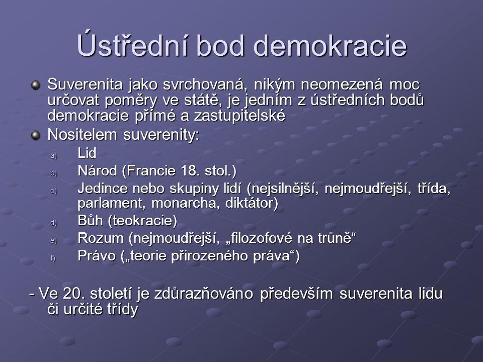 Ústřední bod demokracie Suverenita jako svrchovaná, nikým neomezená moc určovat poměry ve státě, je jedním z ústředních bodů demokracie přímé a zastupitelské Nositelem suverenity: a) Lid b) Národ (Francie 18.