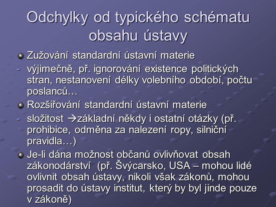 Odchylky od typického schématu obsahu ústavy Zužování standardní ústavní materie -výjimečně, př.