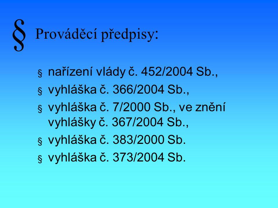 Prováděcí předpisy : § nařízení vlády č. 452/2004 Sb., § vyhláška č.