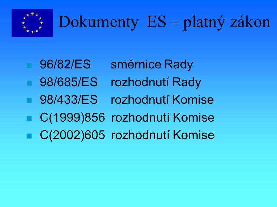 Dokumenty ES – platný zákon n 96/82/ES směrnice Rady n 98/685/ES rozhodnutí Rady n 98/433/ES rozhodnutí Komise n C(1999)856 rozhodnutí Komise n C(2002)605 rozhodnutí Komise