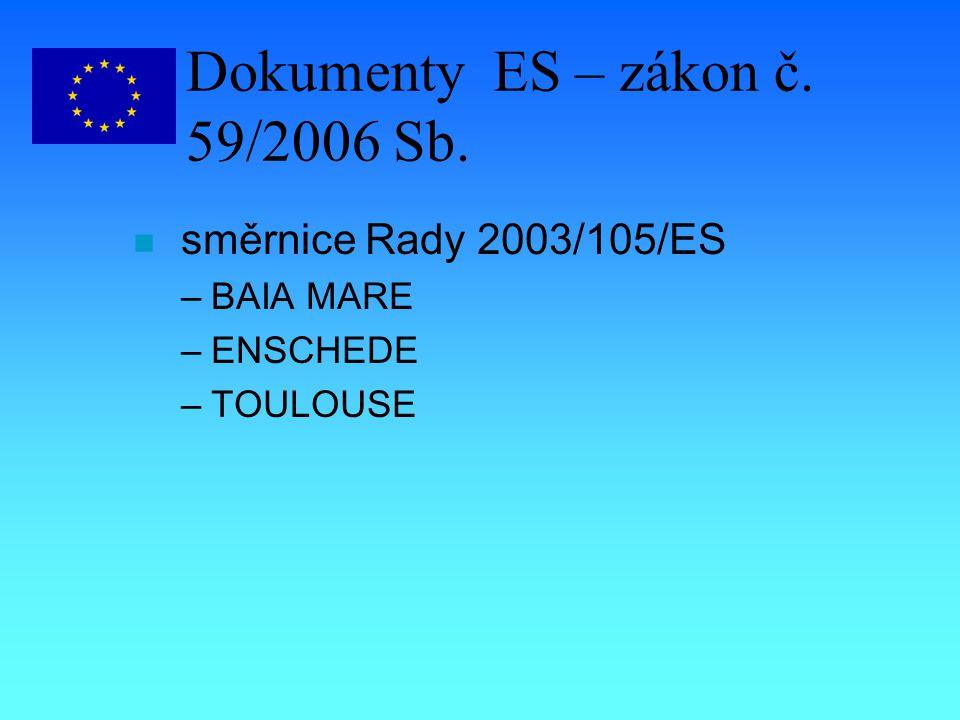 Dokumenty ES – zákon č. 59/2006 Sb. n směrnice Rady 2003/105/ES –BAIA MARE –ENSCHEDE –TOULOUSE