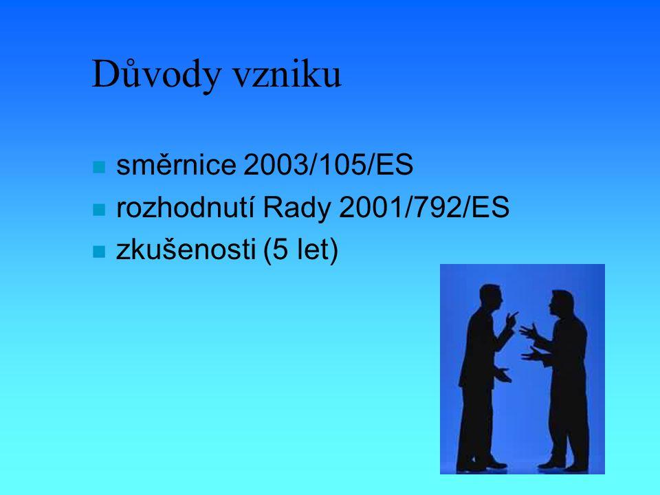 Důvody vzniku n směrnice 2003/105/ES n rozhodnutí Rady 2001/792/ES n zkušenosti (5 let)