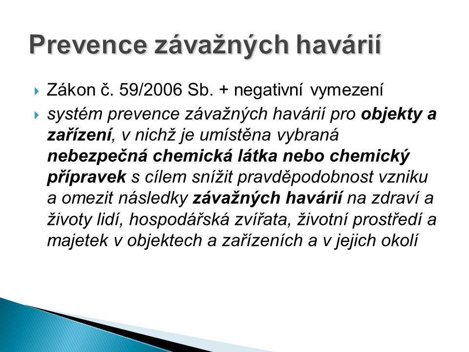  Zákon č. 59/2006 Sb. + negativní vymezení  systém prevence závažných havárií pro objekty a zařízení, v nichž je umístěna vybraná nebezpečná chemick