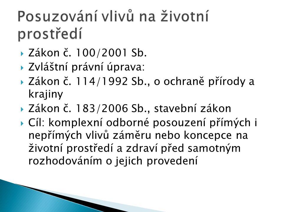 Zákon č. 100/2001 Sb.  Zvláštní právní úprava:  Zákon č. 114/1992 Sb., o ochraně přírody a krajiny  Zákon č. 183/2006 Sb., stavební zákon  Cíl: