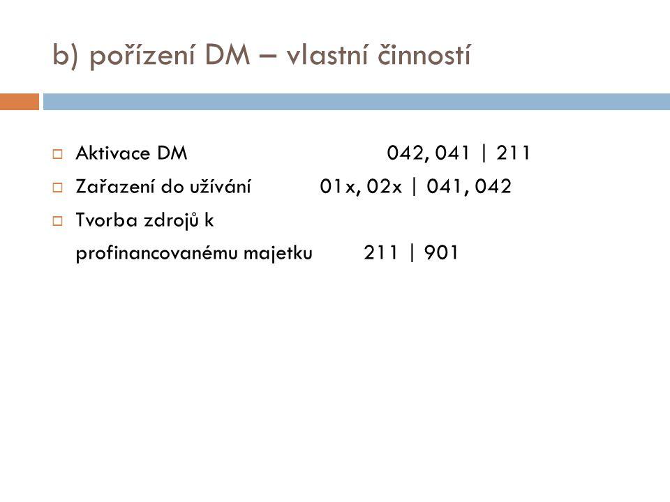 b) pořízení DM – vlastní činností  Aktivace DM042, 041 | 211  Zařazení do užívání01x, 02x | 041, 042  Tvorba zdrojů k profinancovanému majetku 211 | 901