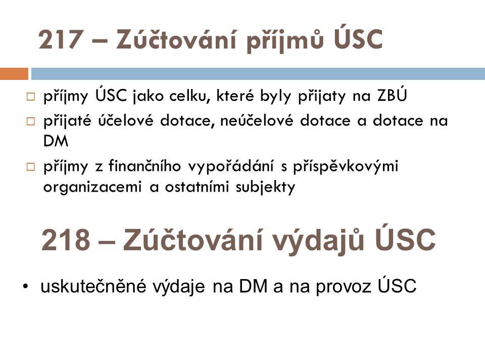217 – Zúčtování příjmů ÚSC  příjmy ÚSC jako celku, které byly přijaty na ZBÚ  přijaté účelové dotace, neúčelové dotace a dotace na DM  příjmy z finančního vypořádání s příspěvkovými organizacemi a ostatními subjekty 218 – Zúčtování výdajů ÚSC uskutečněné výdaje na DM a na provoz ÚSC