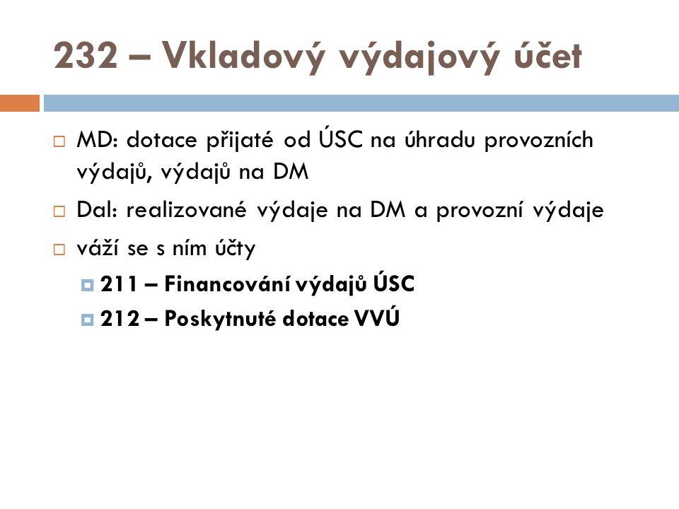 232 – Vkladový výdajový účet  MD: dotace přijaté od ÚSC na úhradu provozních výdajů, výdajů na DM  Dal: realizované výdaje na DM a provozní výdaje  váží se s ním účty  211 – Financování výdajů ÚSC  212 – Poskytnuté dotace VVÚ