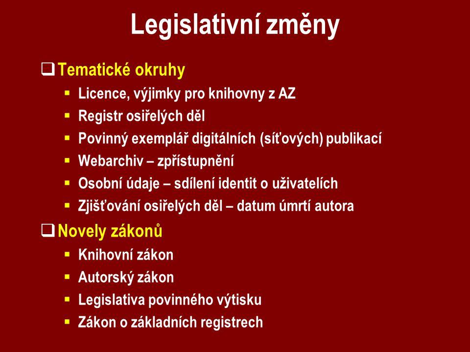 Legislativní změny  Tematické okruhy  Licence, výjimky pro knihovny z AZ  Registr osiřelých děl  Povinný exemplář digitálních (síťových) publikací