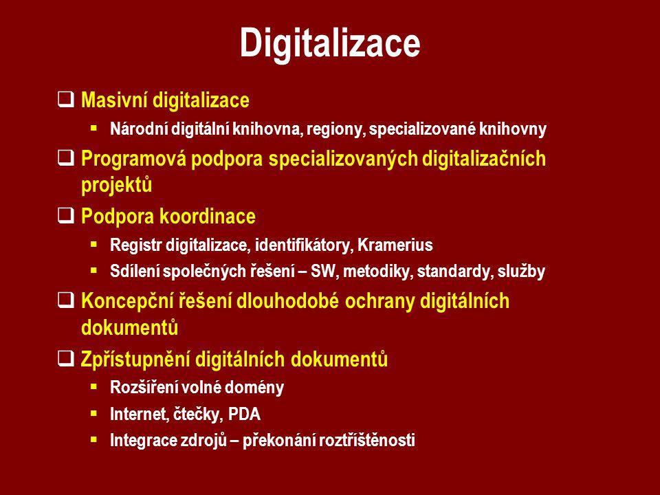 Digitalizace  Masivní digitalizace  Národní digitální knihovna, regiony, specializované knihovny  Programová podpora specializovaných digitalizační