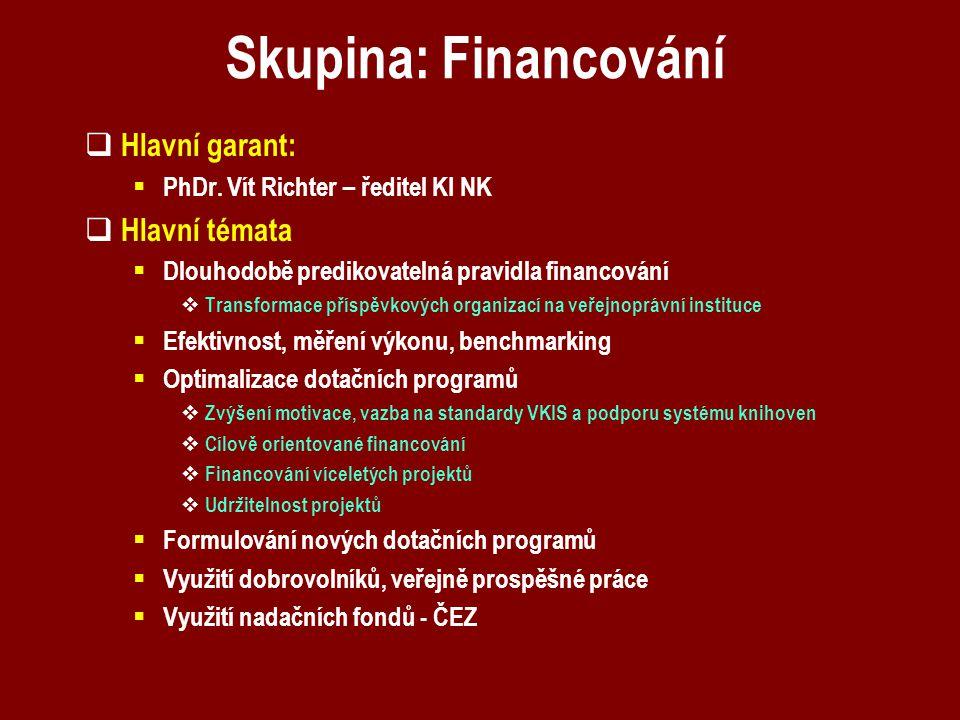 Skupina: Financování  Hlavní garant:  PhDr. Vít Richter – ředitel KI NK  Hlavní témata  Dlouhodobě predikovatelná pravidla financování  Transform