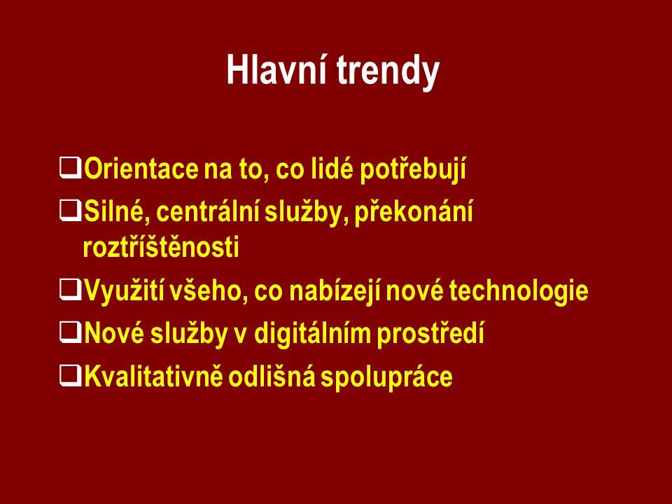Hlavní trendy  Orientace na to, co lidé potřebují  Silné, centrální služby, překonání roztříštěnosti  Využití všeho, co nabízejí nové technologie  Nové služby v digitálním prostředí  Kvalitativně odlišná spolupráce