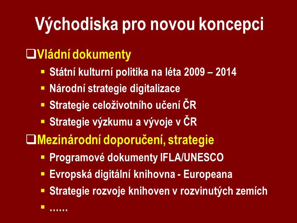 Východiska pro novou koncepci  Vládní dokumenty  Státní kulturní politika na léta 2009 – 2014  Národní strategie digitalizace  Strategie celoživot