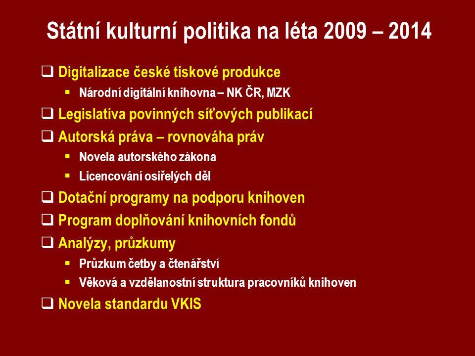 Státní kulturní politika na léta 2009 – 2014  Digitalizace české tiskové produkce  Národní digitální knihovna – NK ČR, MZK  Legislativa povinných s