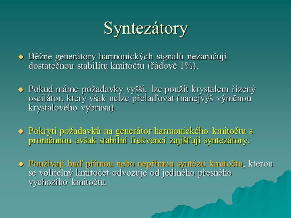 Syntezátory  Pod pojmem kmitočtová syntéza rozumíme vytváření množiny kmitočtů {f x } z daného výchozího kmitočtu f r., což lze vyjádřit rovnicí:  Při popisování vlastností syntezátorů je důležitý parametr, který se nazývá fázový šum.