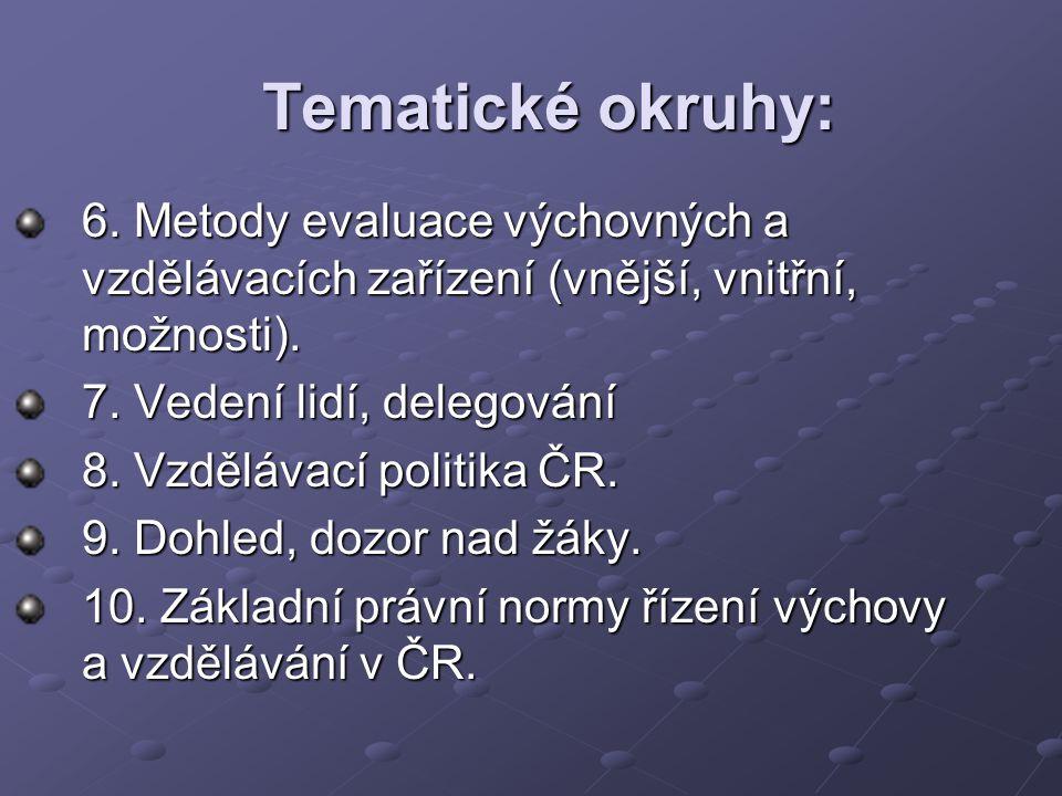 Tematické okruhy: 11.Školský zákon č. 561/2004 Sb.