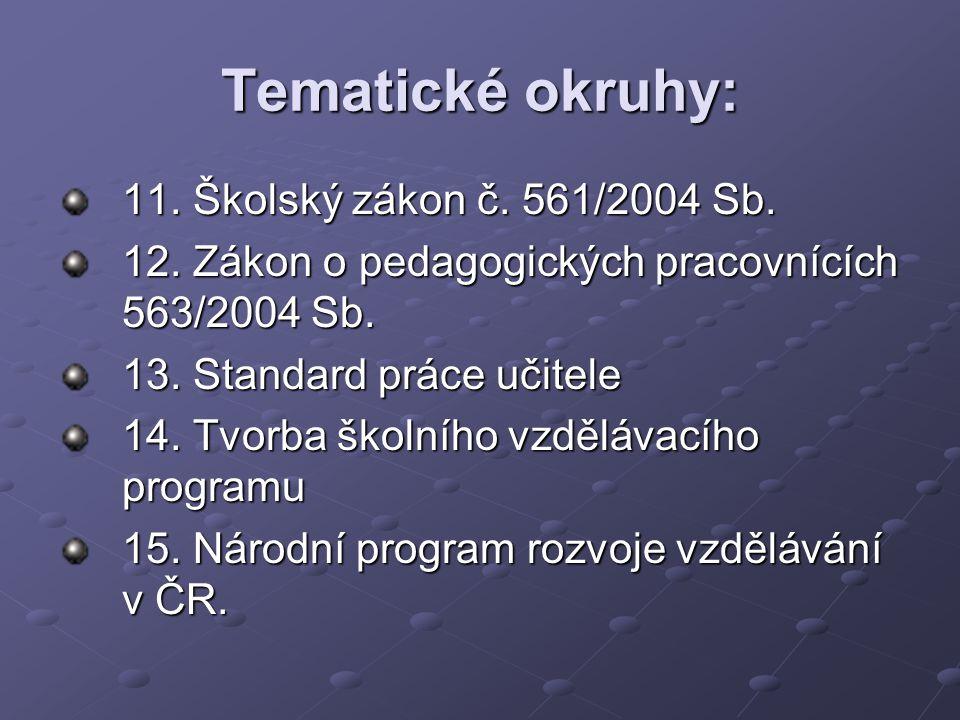 Tematické okruhy: 11. Školský zákon č. 561/2004 Sb. 12. Zákon o pedagogických pracovnících 563/2004 Sb. 13. Standard práce učitele 14. Tvorba školního