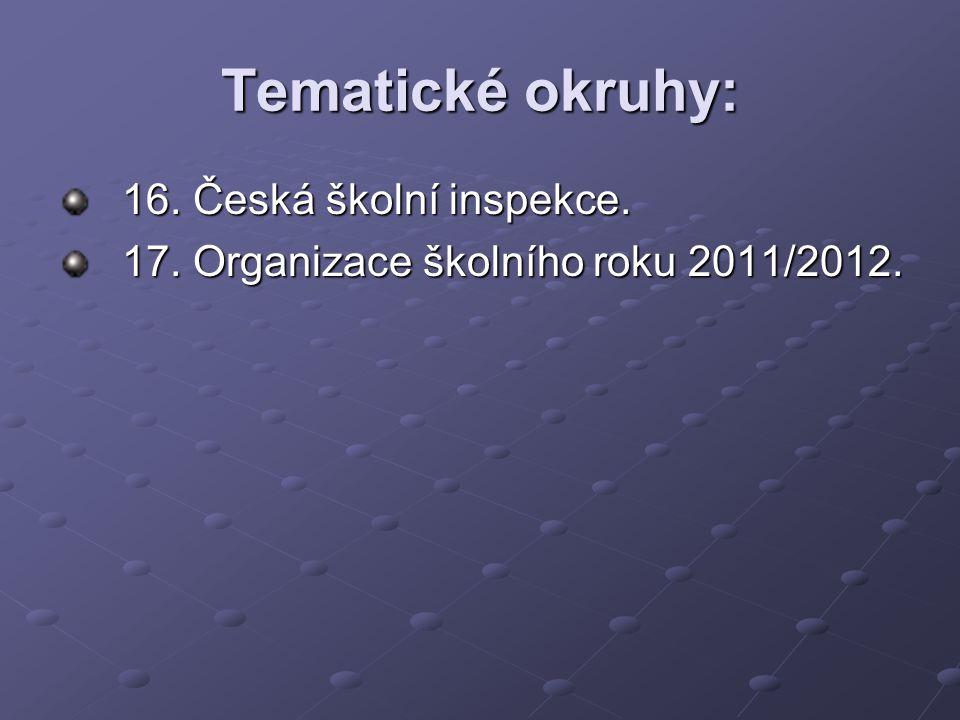 Tematické okruhy: 18. Struktura vzdělávací soustavy v ČR. 19. Prevence sociálně patologických jevů.