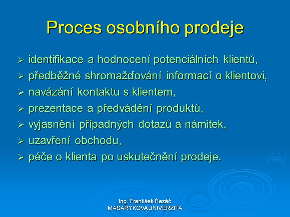 Ing. František Řezáč MASARYKOVA UNIVERZITA Proces osobního prodeje  identifikace a hodnocení potenciálních klientů,  předběžné shromažďování informa