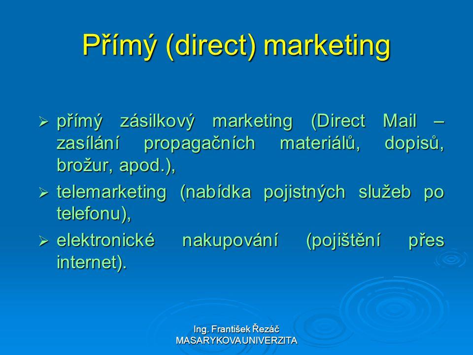 Ing. František Řezáč MASARYKOVA UNIVERZITA Přímý (direct) marketing  přímý zásilkový marketing (Direct Mail – zasílání propagačních materiálů, dopisů