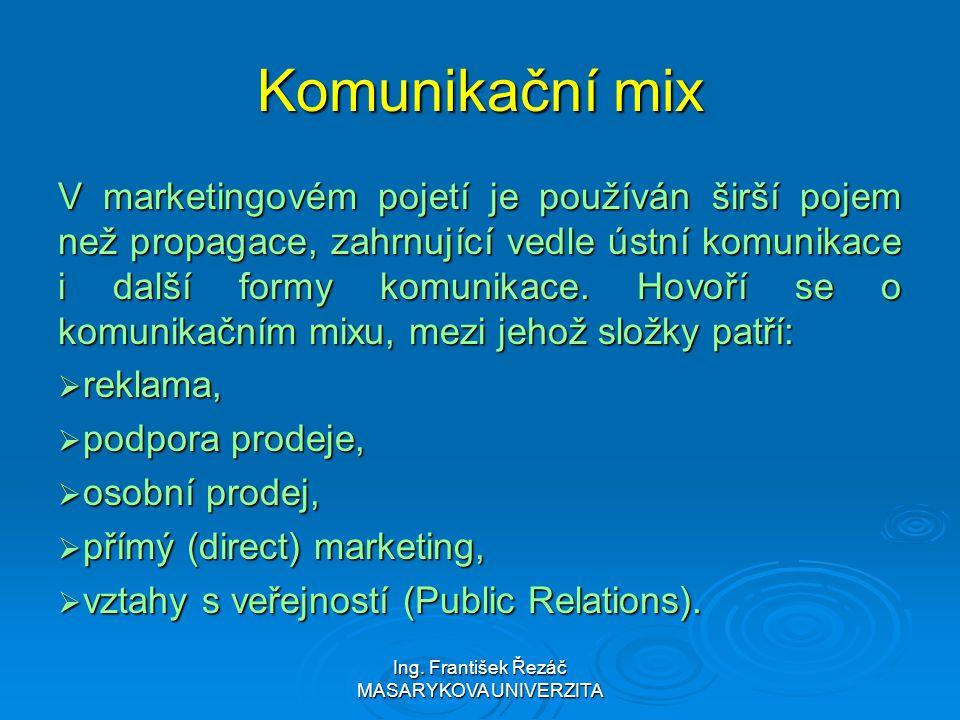 Ing. František Řezáč MASARYKOVA UNIVERZITA Komunikační mix V marketingovém pojetí je používán širší pojem než propagace, zahrnující vedle ústní komuni