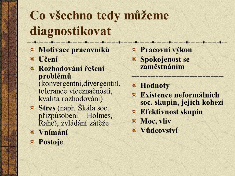 Co všechno tedy můžeme diagnostikovat Motivace pracovníků Učení Rozhodování řešení problémů (konvergentní,divergentní, tolerance víceznačnosti, kvalita rozhodování) Stres (např.