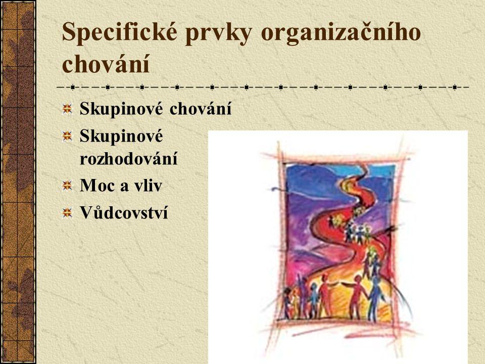 Specifické prvky organizačního chování Skupinové chování Skupinové rozhodování Moc a vliv Vůdcovství