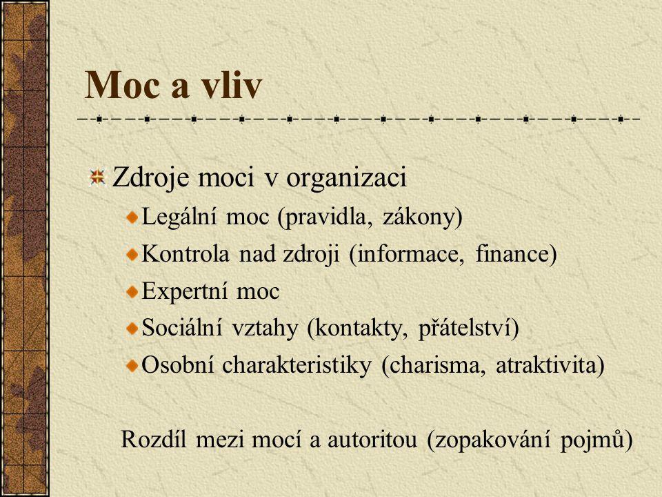 Moc a vliv Zdroje moci v organizaci Legální moc (pravidla, zákony) Kontrola nad zdroji (informace, finance) Expertní moc Sociální vztahy (kontakty, př