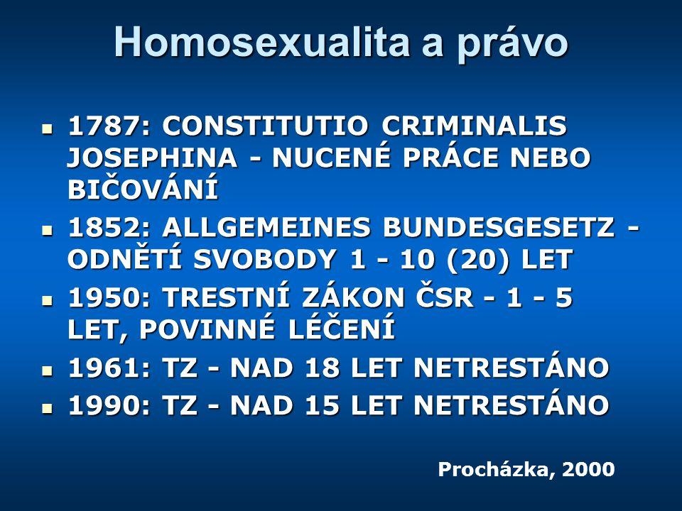 Homosexualita a právo 1787: CONSTITUTIO CRIMINALIS JOSEPHINA - NUCENÉ PRÁCE NEBO BIČOVÁNÍ 1787: CONSTITUTIO CRIMINALIS JOSEPHINA - NUCENÉ PRÁCE NEBO BIČOVÁNÍ 1852: ALLGEMEINES BUNDESGESETZ - ODNĚTÍ SVOBODY 1 - 10 (20) LET 1852: ALLGEMEINES BUNDESGESETZ - ODNĚTÍ SVOBODY 1 - 10 (20) LET 1950: TRESTNÍ ZÁKON ČSR - 1 - 5 LET, POVINNÉ LÉČENÍ 1950: TRESTNÍ ZÁKON ČSR - 1 - 5 LET, POVINNÉ LÉČENÍ 1961: TZ - NAD 18 LET NETRESTÁNO 1961: TZ - NAD 18 LET NETRESTÁNO 1990: TZ - NAD 15 LET NETRESTÁNO 1990: TZ - NAD 15 LET NETRESTÁNO Procházka, 2000