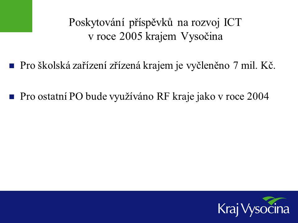 Poskytování příspěvků na rozvoj ICT v roce 2005 krajem Vysočina Pro školská zařízení zřízená krajem je vyčleněno 7 mil.