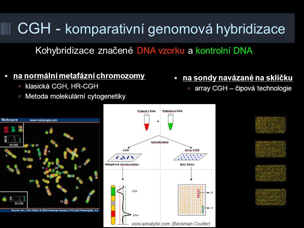 CGH - komparativní genomová hybridizace Kohybridizace značené DNA vzorku a kontrolní DNA www.advalytix.com (Beckman Coulter)  na sondy navázané na sk