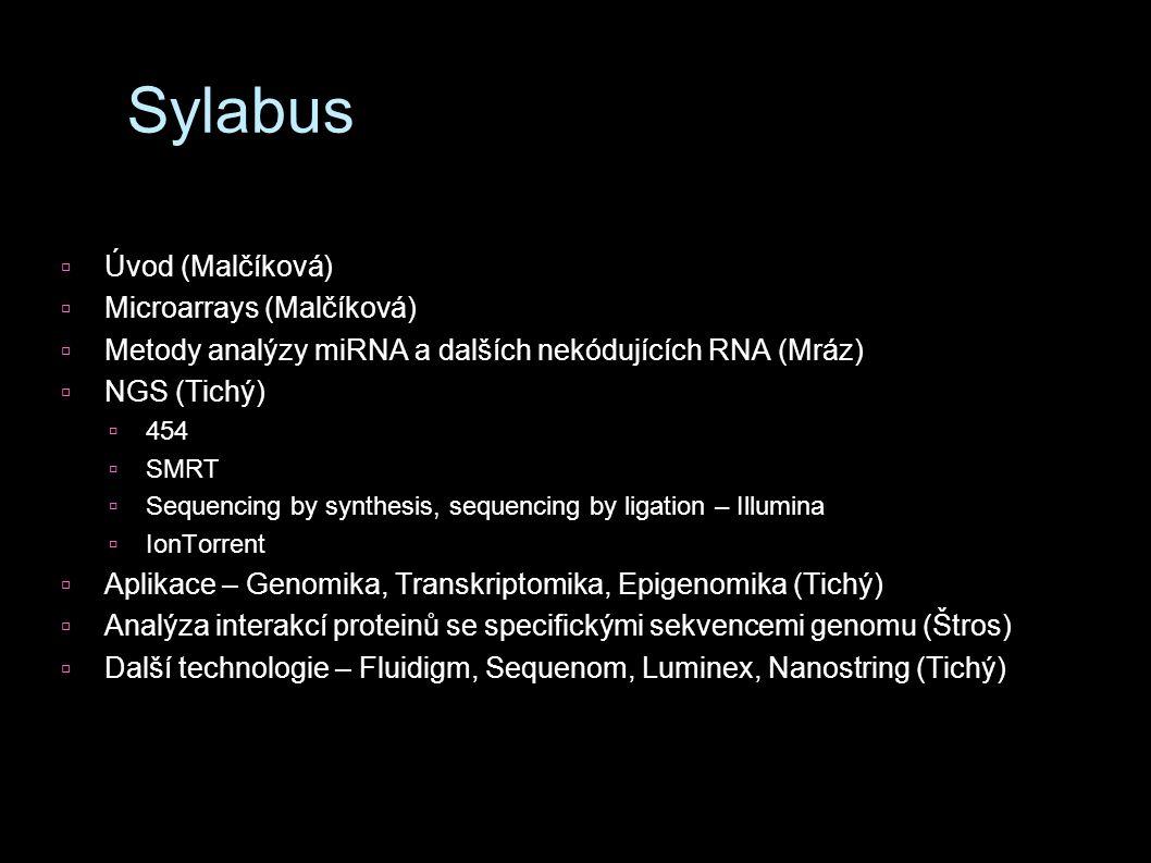 Sylabus  Úvod (Malčíková)  Microarrays (Malčíková)  Metody analýzy miRNA a dalších nekódujících RNA (Mráz)  NGS (Tichý)  454  SMRT  Sequencing