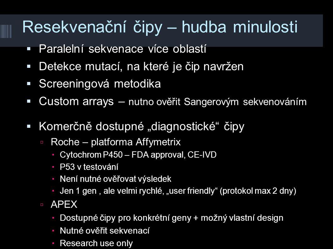 Resekvenační čipy – hudba minulosti  Paralelní sekvenace více oblastí  Detekce mutací, na které je čip navržen  Screeningová metodika  Custom arra