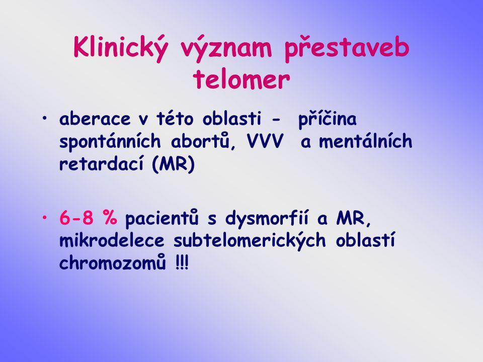 Klinický význam přestaveb telomer aberace v této oblasti - příčina spontánních abortů, VVV a mentálních retardací (MR) 6-8 % pacientů s dysmorfií a MR