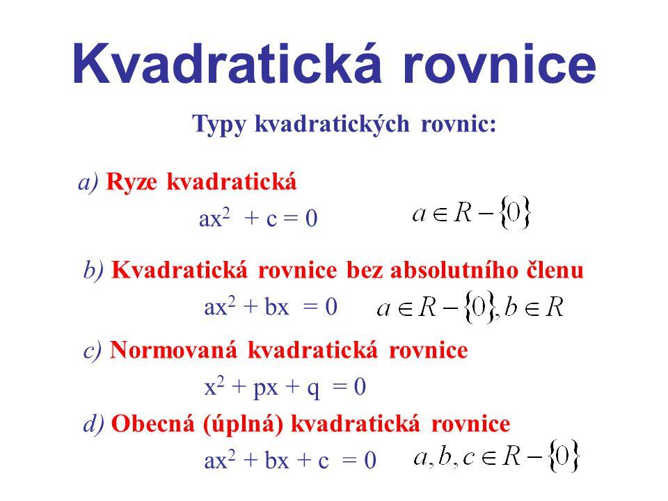 Kvadratická rovnice Řešení kvadratických rovnic: a) Ryze kvadratická Má-li být kvadratická rovnice řešitelná v oboru reálných čísel, co musí platit pro Jaká řešení vyhovují této rovnosti.