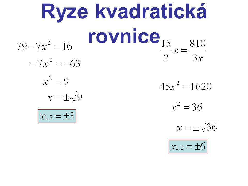 Ryze kvadratická rovnice s parametrem