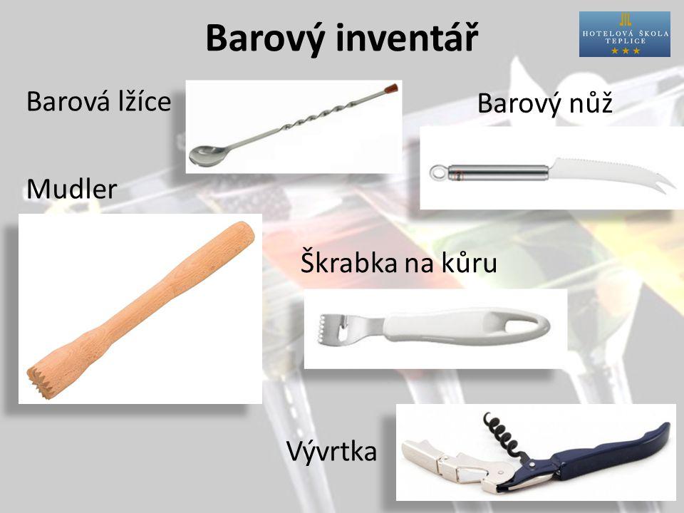 Barový inventář Uzávěr na ŠV Nálevky a dropstopy Pinzeta Struhadlo Prkénko
