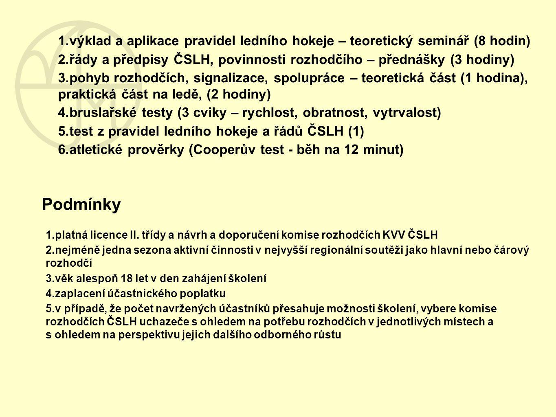 Podmínky 1.výklad a aplikace pravidel ledního hokeje – teoretický seminář (8 hodin) 2.řády a předpisy ČSLH, povinnosti rozhodčího – přednášky (3 hodin