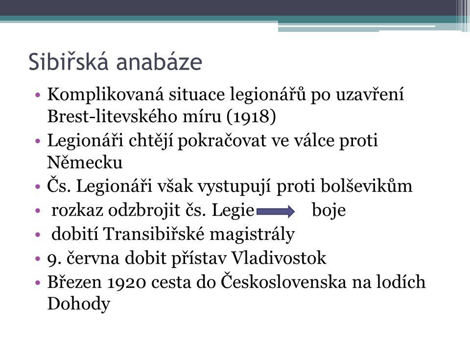 Sibiřská anabáze Komplikovaná situace legionářů po uzavření Brest-litevského míru (1918) Legionáři chtějí pokračovat ve válce proti Německu Čs. Legion