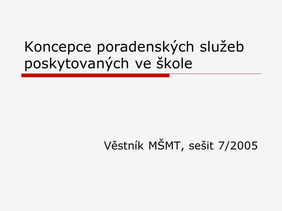 Koncepce poradenských služeb poskytovaných ve škole Věstník MŠMT, sešit 7/2005
