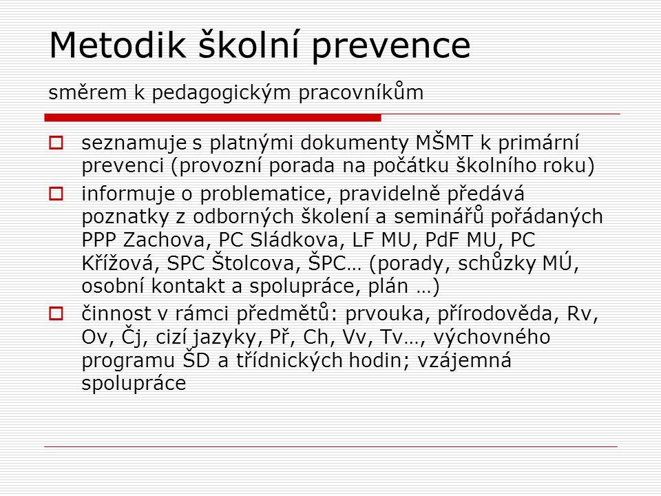 Metodik školní prevence směrem k pedagogickým pracovníkům  seznamuje s platnými dokumenty MŠMT k primární prevenci (provozní porada na počátku školní