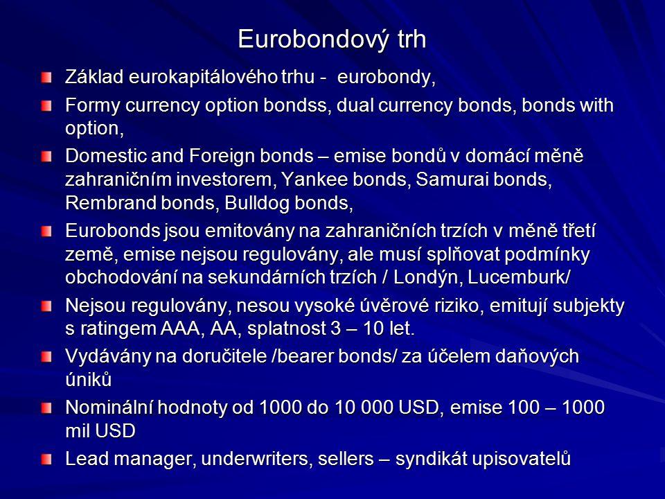 Eurobondový trh Základ eurokapitálového trhu - eurobondy, Formy currency option bondss, dual currency bonds, bonds with option, Domestic and Foreign b