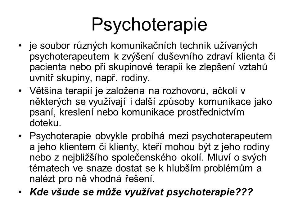 Psychoterapie je soubor různých komunikačních technik užívaných psychoterapeutem k zvýšení duševního zdraví klienta či pacienta nebo při skupinové ter